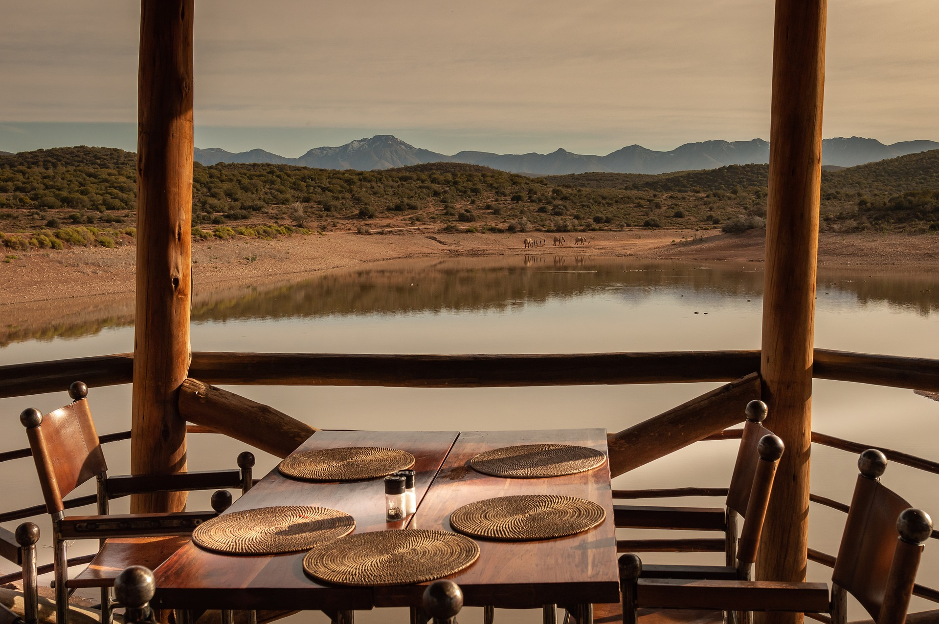 Deck on a watering hole in Namibia